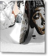 Street Art In The Snow Metal Print