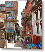 Street In Bhaktapur-city Of Devotees-nepal  Metal Print