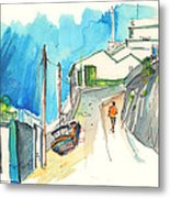 Street In Ericeira In Portugal Metal Print