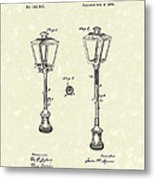 Street Lamp 1876 Patent Art Metal Print by Prior Art Design