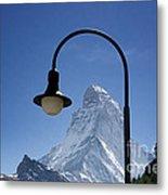 Street Lamp And Mountain Metal Print by Mats Silvan