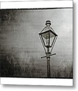 Street Lamp On The River In Black And White Metal Print