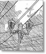 Street Lamps And Straight Lines Metal Print