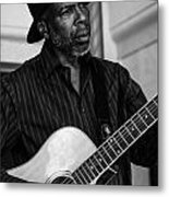 Street Musician Black And White Metal Print