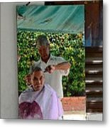 Street Side Barber Cuts Client Hair Singapore Metal Print