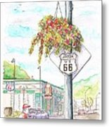 Street Sign In Route 66. Williams, Arizona Metal Print