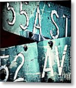 Street Sign In The Dark Metal Print