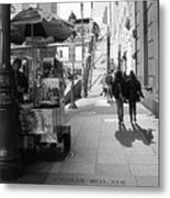 Street Vendor And Stairs In New York City Metal Print