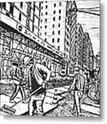 Street Work In New York Metal Print