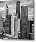 Streeterville From Above Black And White Metal Print