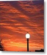 Streetlight Sunset Texas Metal Print