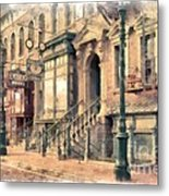 Streets Of Old New York City Watercolor Metal Print