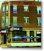 Streets Of Pointe St Charles Centre And Charlevoix Summer La Chic Regal Pub Scenes Carole Spandau Metal Print