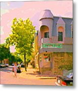 Streets Of Pointe St Charles Summer Scene Connies Pizza Rue Charlevoix Et Grand Trunk Carole Spandau Metal Print