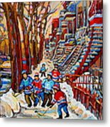 Streets Of Verdun Hockey Art Montreal Street Scene With Outdoor Winding Staircases Metal Print