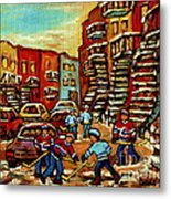 Streets Of Verdun Paintings He Shoots He Scores Our Hockey Town Forever Montreal City Scenes  Metal Print