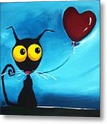 Stressie Cat And Her Love Balloon Metal Print