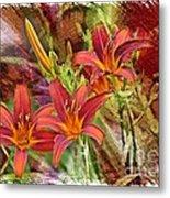 Striking Daylilies - Digital Art Metal Print