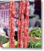 String Of Handmade Sausages Metal Print