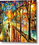 Stroll With My Best Friend - Palette Knife Oil Painting On Canvas By Leonid Afremov Metal Print