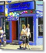 Strolling By The Blue Boy Frozen Yogurt Glacee Cafe Plateau Mont Royal City Scene Carole Spandau   Metal Print