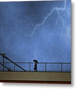Strolling In The Rain Metal Print