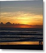 Strolling The Beach During Sunset Metal Print