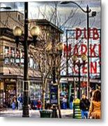 Strolling Towards The Market - Seattle Washington Metal Print