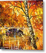 Strong Birch - Palette Knife Oil Painting On Canvas By Leonid Afremov Metal Print