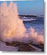 Strong Winds Blow Waves Onto Rocks Metal Print