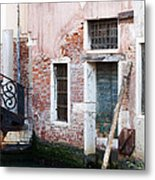 Stucco And Brick Canalside Building Venice Italy Metal Print