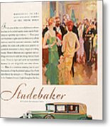 Studebaker 1929 1920s Usa Cc Cars Metal Print by The Advertising Archives
