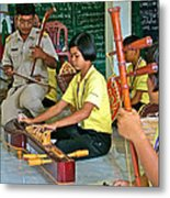 Students Playing Traditional Thai Instruments In Music Class At  Baan Konn Soong School In Sukhothai Metal Print
