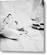 Students Putting On Pointe Shoes At A Ballet School In The Uk Metal Print