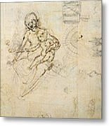 Studies For A Virgin And Child And Of Heads In Profile And Machines, C.1478-80 Pencil And Ink Metal Print