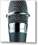 Studio Shot Of Microphone On White Metal Print