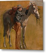 Study For Cowboys In The Badlands Metal Print