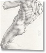 Study For The Male Nude At Right Above The Persian Sibyl After Michelangelo Buonarotti Metal Print