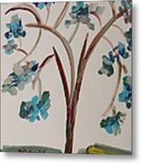Study Of A Blue Tree Metal Print by Mary Carol Williams