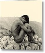 Study Of A Male Nude On A Rock In Taormina Sicily Metal Print