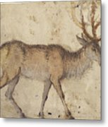 Study Of A Stag Recto,  Study Of Goats Verso Lucas Cranach Metal Print