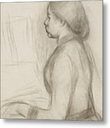 Study Of A Young Girl At The Piano Metal Print
