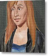 Study Of A Young Woman In A Black Sweater Metal Print