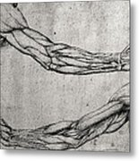 Study Of Arms Metal Print by Leonardo Da Vinci