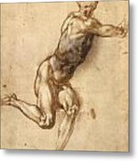 Study Of Figure To Battle Of Cascina Metal Print