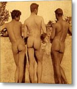 Study Of Three Male Nudes Metal Print