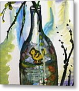 Study - Yellow Ducky In  Bottle Metal Print