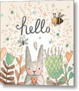Stunning Card With Cute Rabbit Metal Print