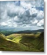 Stunning Large Panorama Landscape Of Brecon Beacons View From Pe Metal Print
