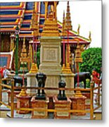 Stupa Surrounded By Elephants At Grand Palace Of Thailand In Ban Metal Print